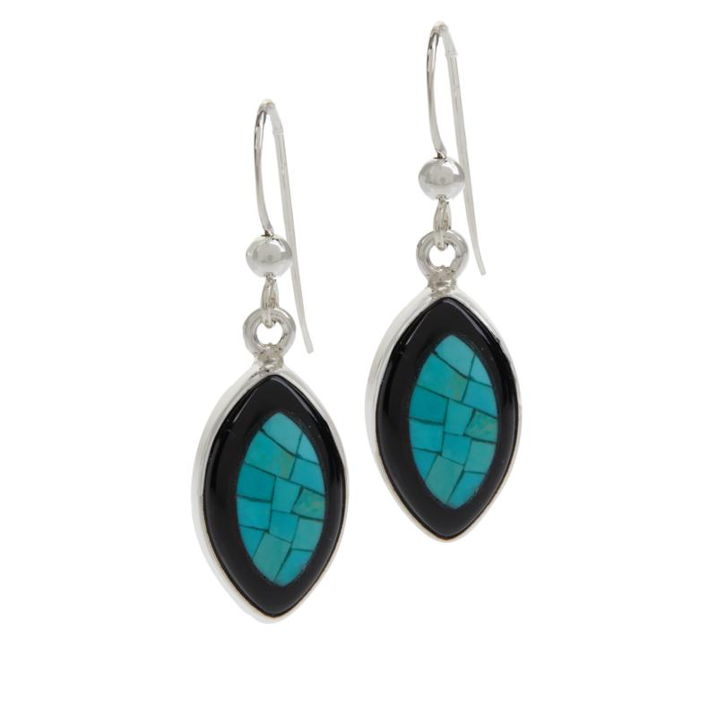 Jay King Black Chalcedony and Turquoise Mosaic Drop Earrings