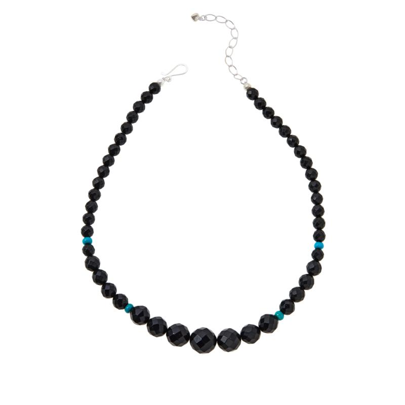 Jay King Black Jet and Royal Blue Turquoise Graduated Bead Necklace