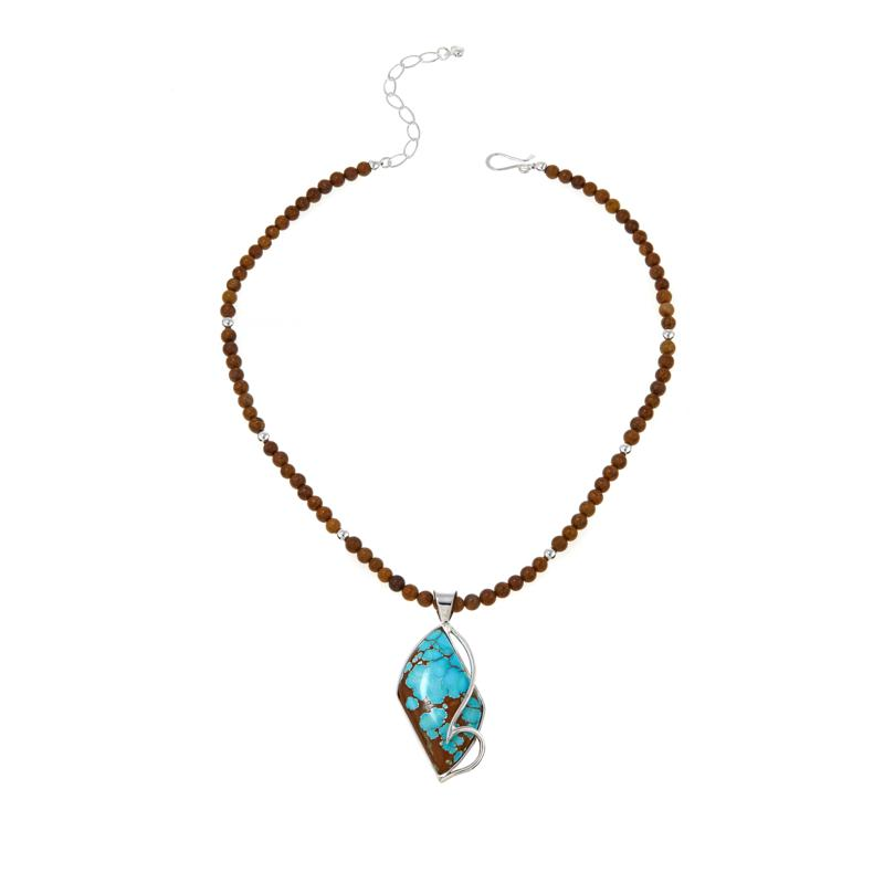 """Jay King Blue and Brown Turquoise Pendant with 18"""" Beaded Necklace"""