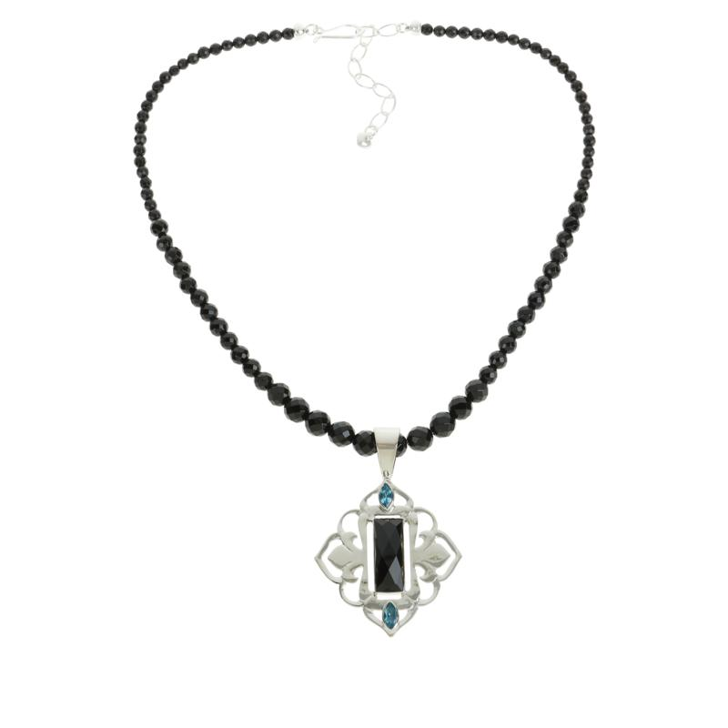 Jay King Blue Topaz and Midnight Chalcedony Pendant Necklace