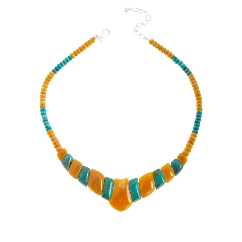 Jay King Butterscotch Amber and Azure Peaks Turquoise Necklace