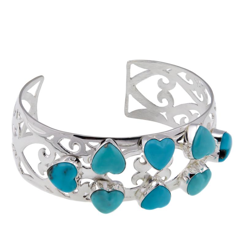 Jay King Campitos Turquoise Sterling Silver Heart Cuff Bracelet