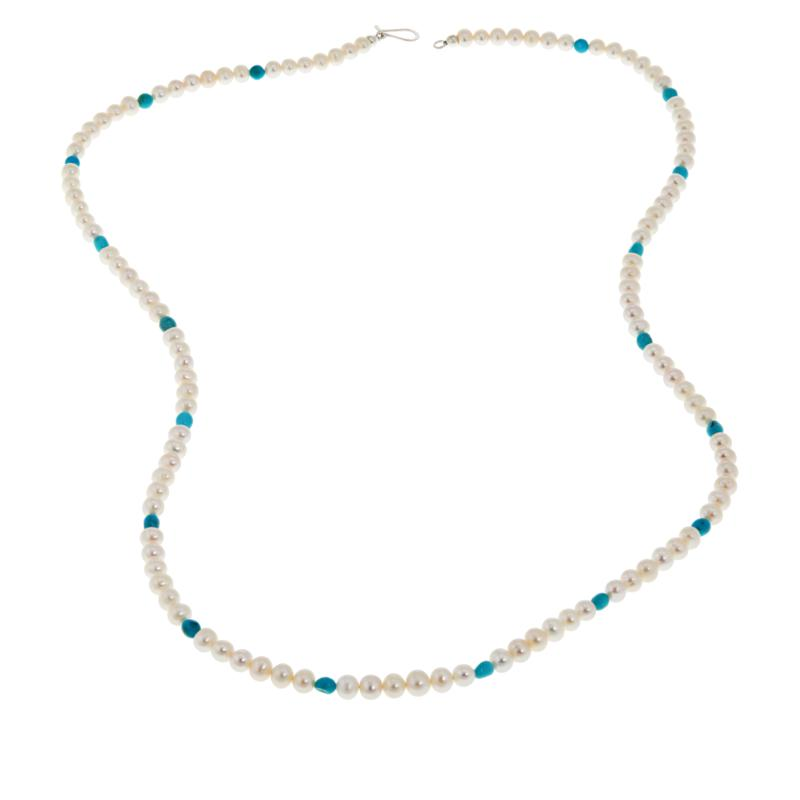 Jay King Cultured Freshwater Pearl and Azure Peaks Turquoise Necklace