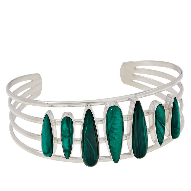 Jay King Gallery Collection Malachite 7-Stone Cuff Bracelet