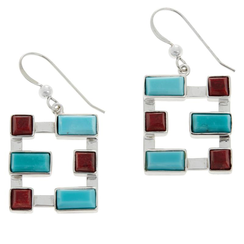 Jay King Gallery Collection Red Coral and Turquoise Geometric Earrings