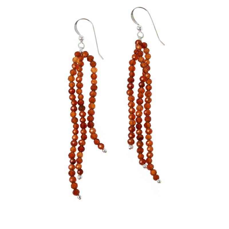 Jay King Hessonite Garnet Bead 3-Strand Dangle Earrings