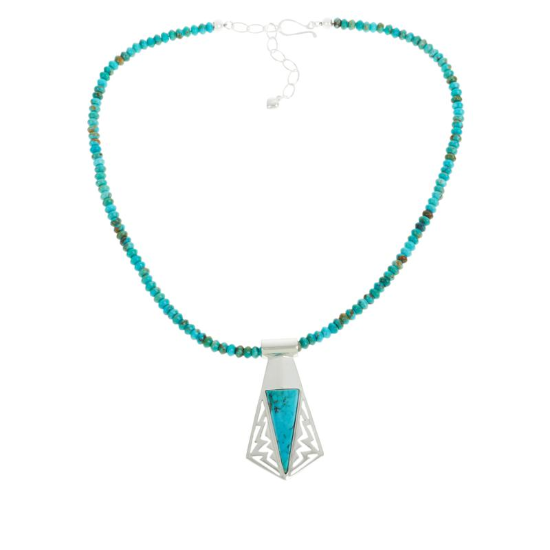 Jay King Kingman Turquoise Freeform Pendant with Beaded Necklace