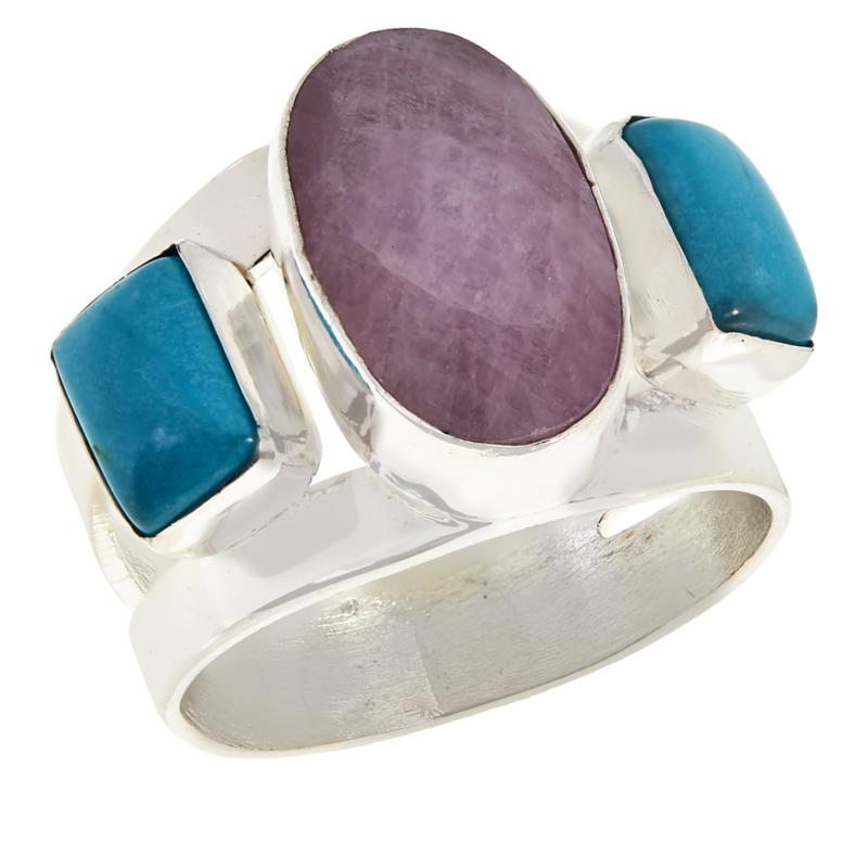Jay King Kunzite and Cloudy Mountain Turquoise Ring