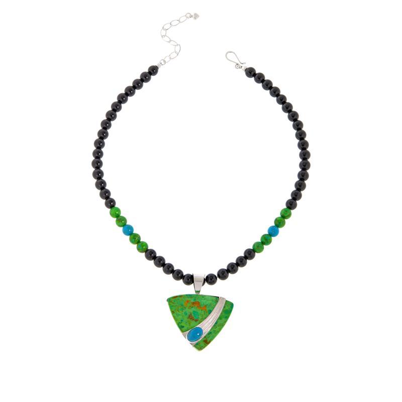 Jay King Lemon Lime and Blue Turquoise Pendant w/Black Bead Necklace