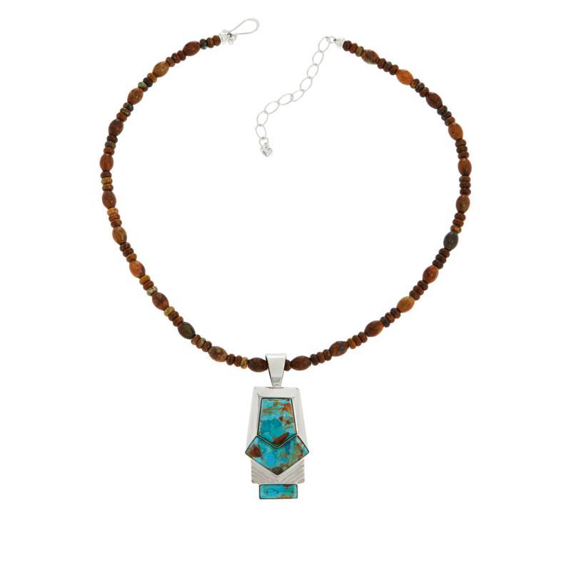 Jay King Mardi Gras Turquoise Pendant with Jarosite Bead Necklace