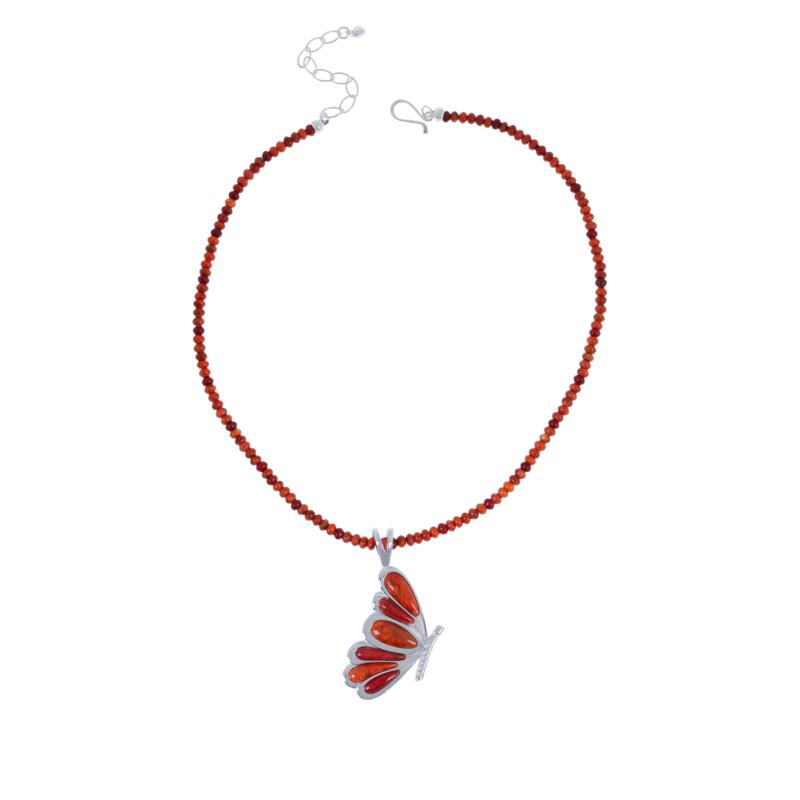 Jay King Orange and Red Coral Butterfly Pendant with Necklace