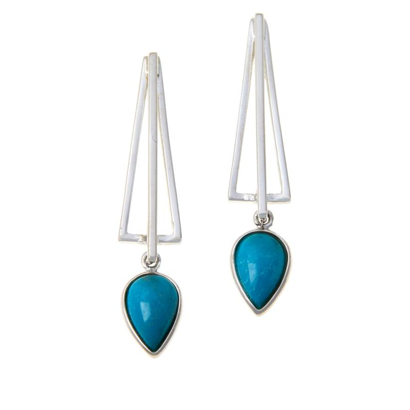 Jay King Pear-Shaped Andean Blue Turquoise Dangle Earrings