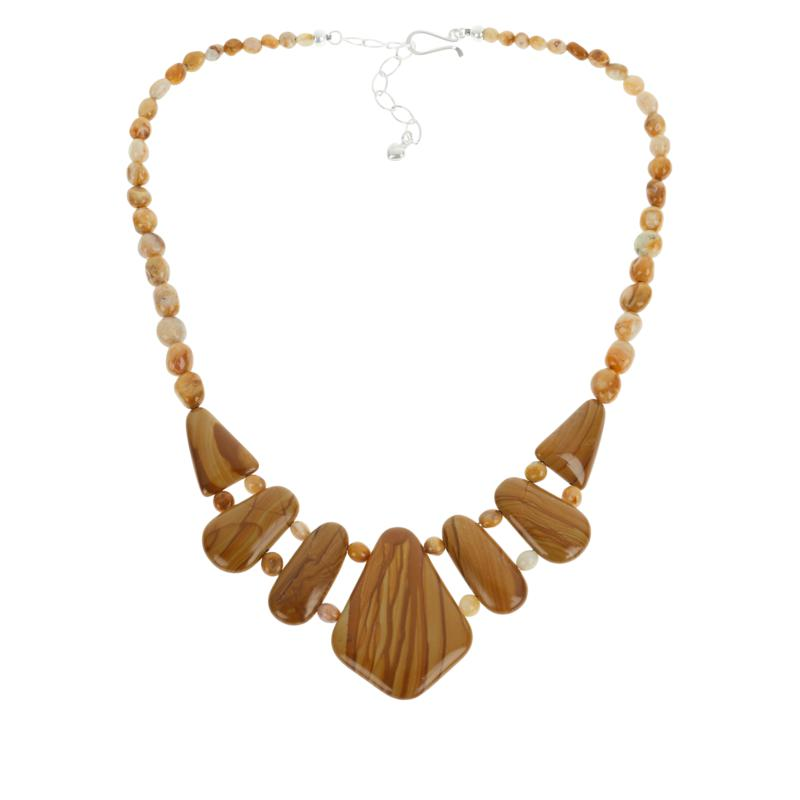 Jay King Picture Jasper and Java Lace Agate Beaded Station Necklace