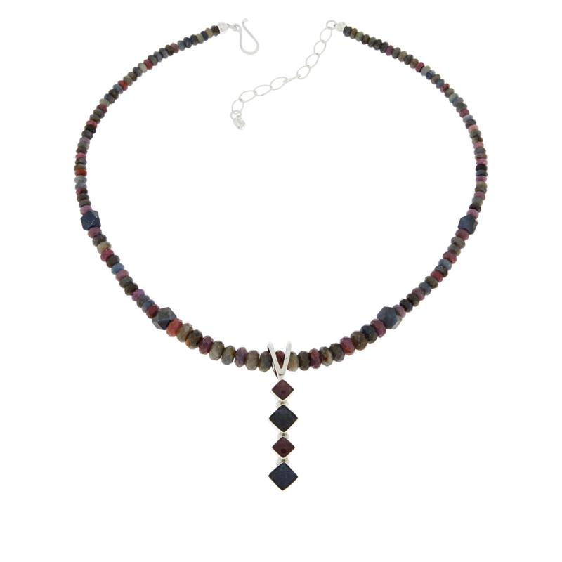 Jay King Pink and Blue Sapphire Pendant with Multi-Color Bead Necklace