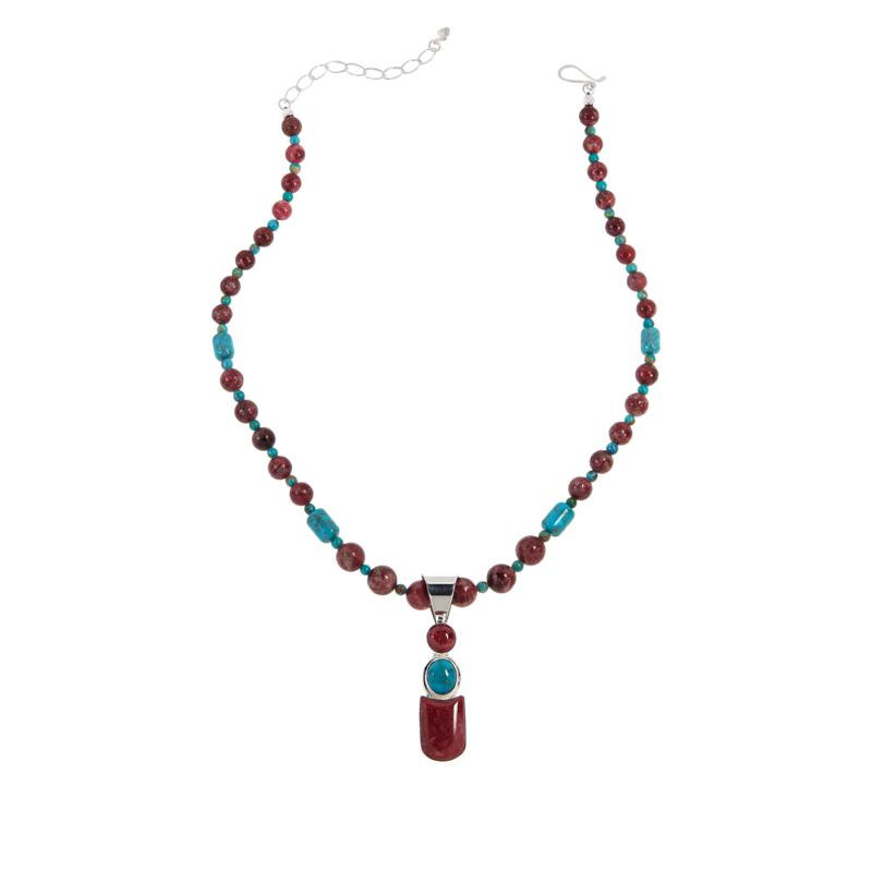 Jay King Pink Thulite and Seven Peaks Turquoise Pendant with Necklace