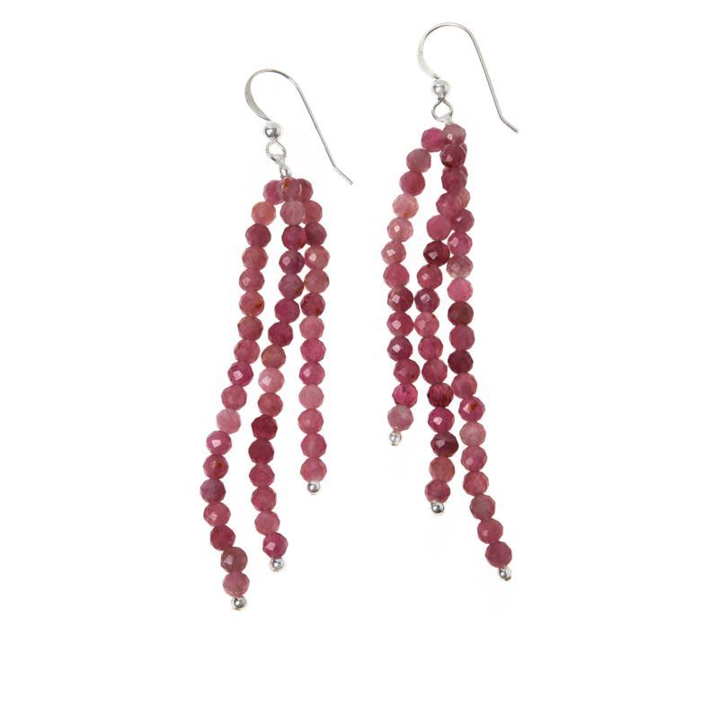 Jay King Pink Tourmaline Bead 3-Strand Dangle Earrings