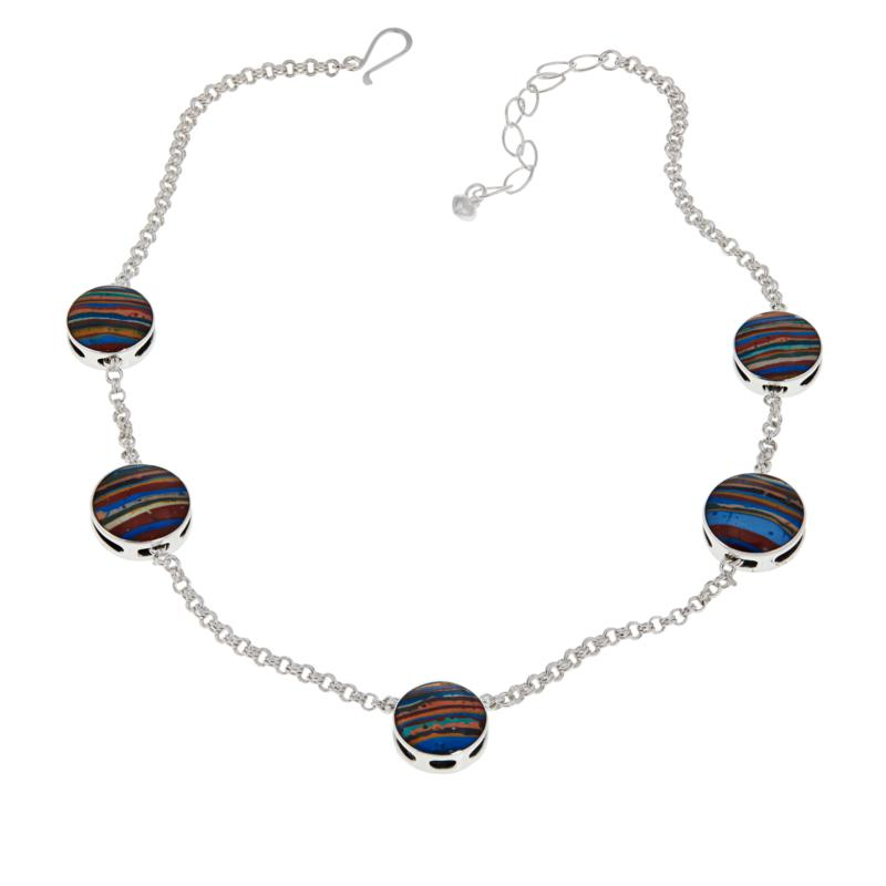 Jay King Rainbow Calsilica and Turquoise Reversible Station Necklace