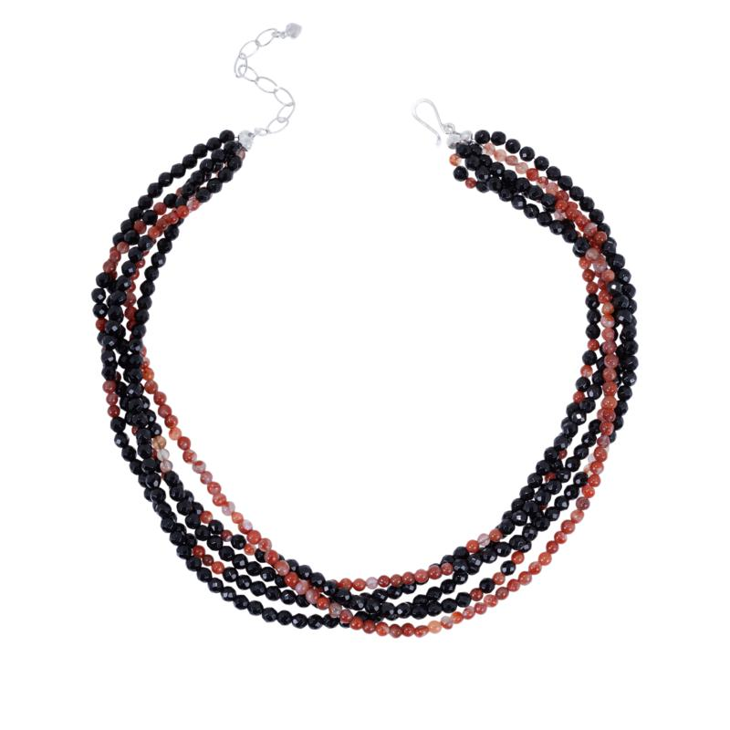 Jay King Red Agate and Black Chalcedony Bead 5-Strand Necklace