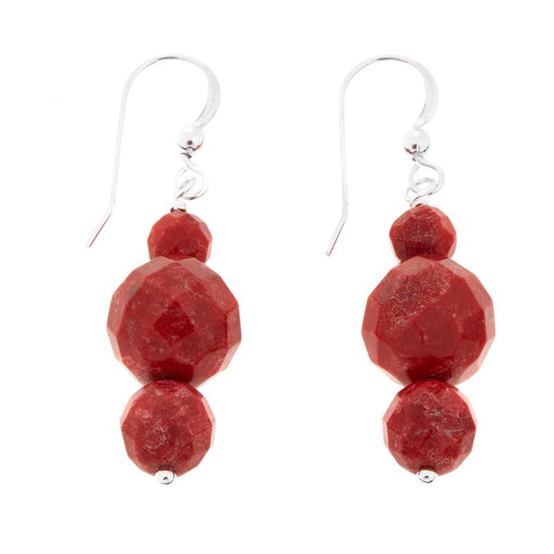 Jay King Red Coral 3-Bead Drop Sterling Silver Earrings