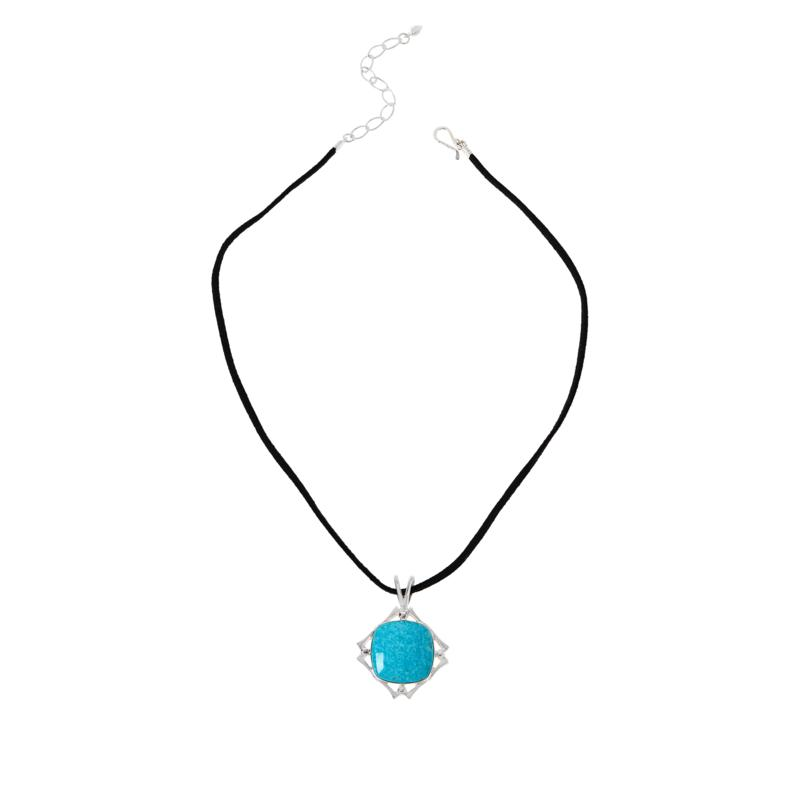 Jay King Sonoran Blue Turquoise Pendant with Black Suede Necklace