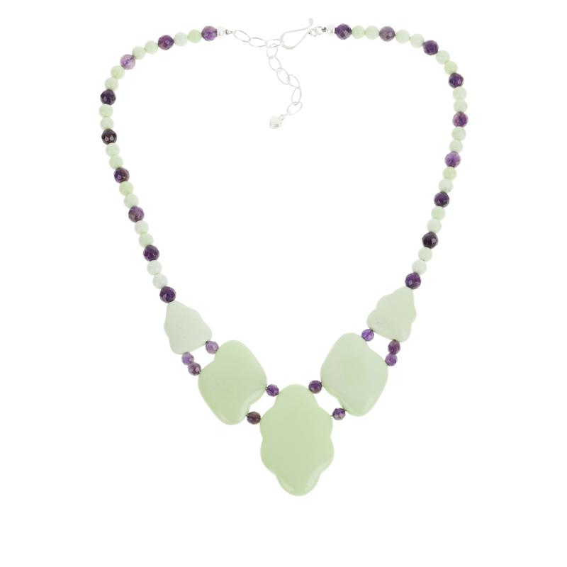 Jay King Sterling Silver African Meadow Stone and Amethyst Necklace