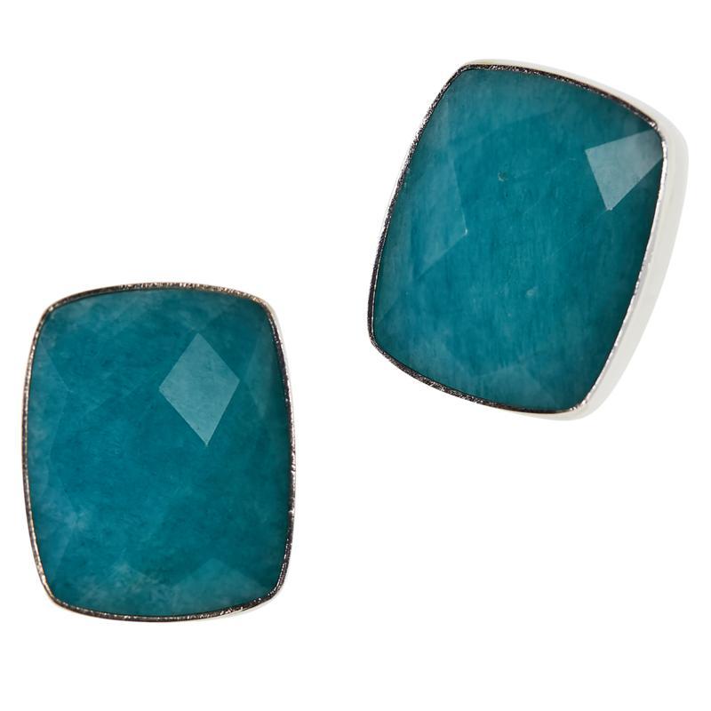 Jay King Sterling Silver Amazonite Cushion Stud Earrings