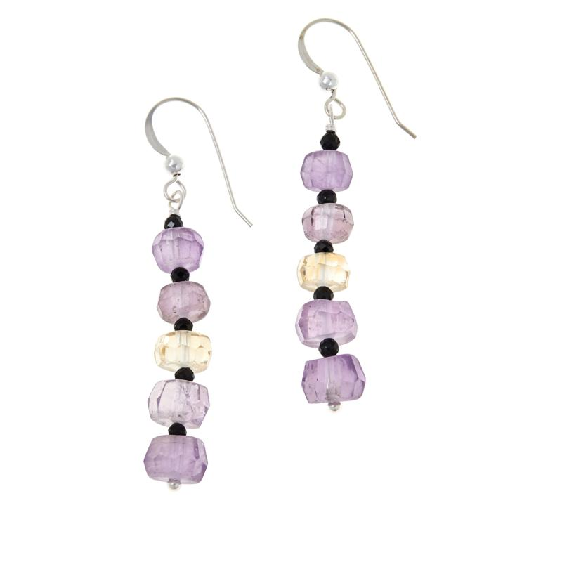Jay King Sterling Silver Amethyst, Citrine and Black Spinel Earrings