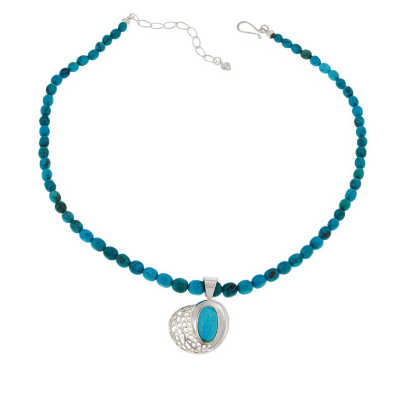 Jay King Sterling Silver Andean Blue Turquoise Pendant with Necklace