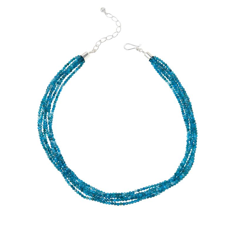 Jay King Sterling Silver Blue Apatite 6-Strand Bead Necklace