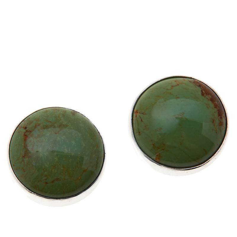 Jay King Sterling Silver Blue-Green Turquoise Button Earrings