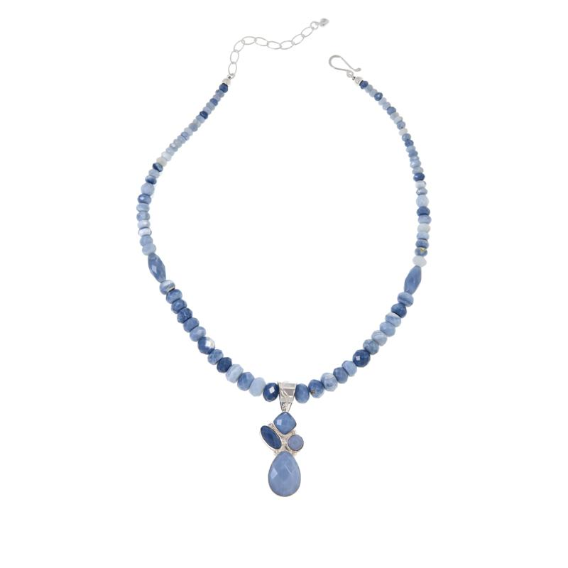 Jay King Sterling Silver Blue Opal Pendant with Beaded Necklace