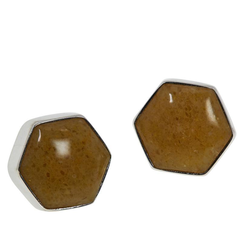 Jay King Sterling Silver Butterscotch Amber Hexagonal Stud Earrings