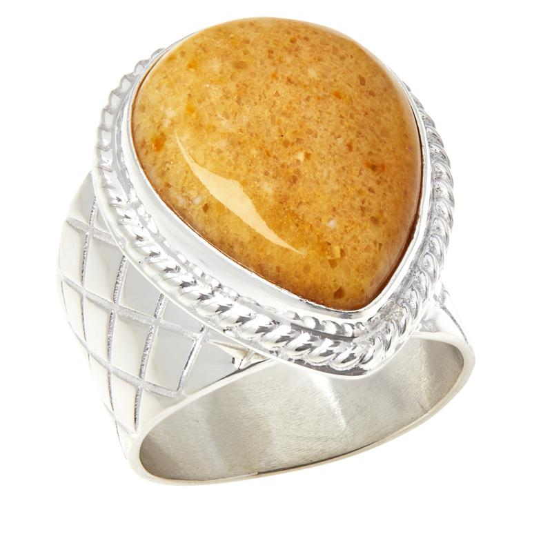 Jay King Sterling Silver Butterscotch Amber Pear-Shape Ring