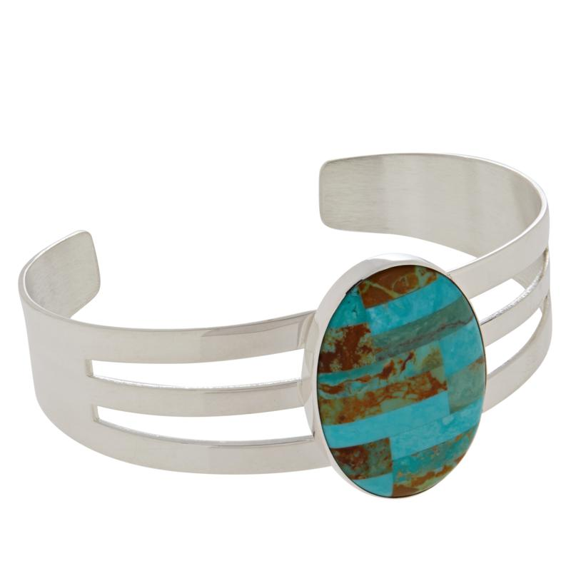 Jay King Sterling Silver Campo Frio Turquoise Inlay Cuff Bracelet