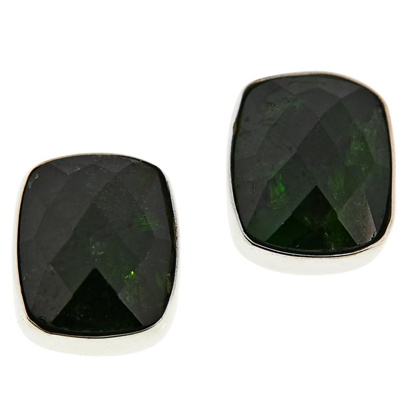 Jay King Sterling Silver Chrome Diopside Cushion-Cut Earrings