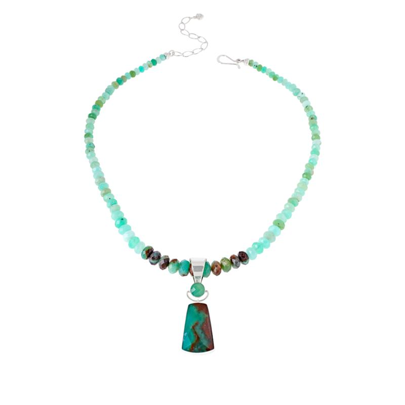 Jay King Sterling Silver Chrysoprase Pendant with Necklace