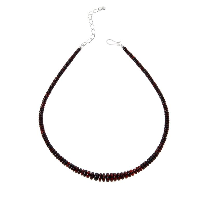Jay King Sterling Silver Dark Amber Graduated Bead Necklace