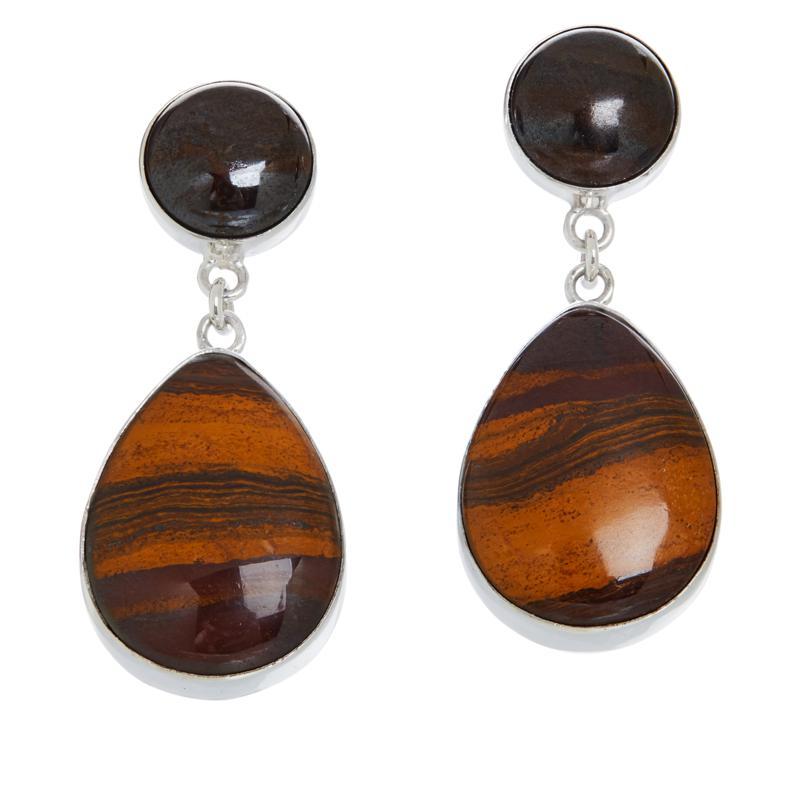 Jay King Sterling Silver Desert Sunset Stone Pear Drop Earrings