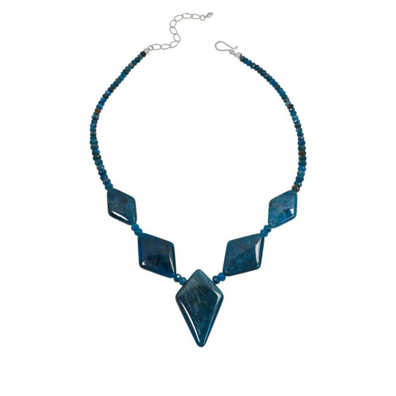 Jay King Sterling Silver Diamond-Shape Blue Apatite Station Necklace