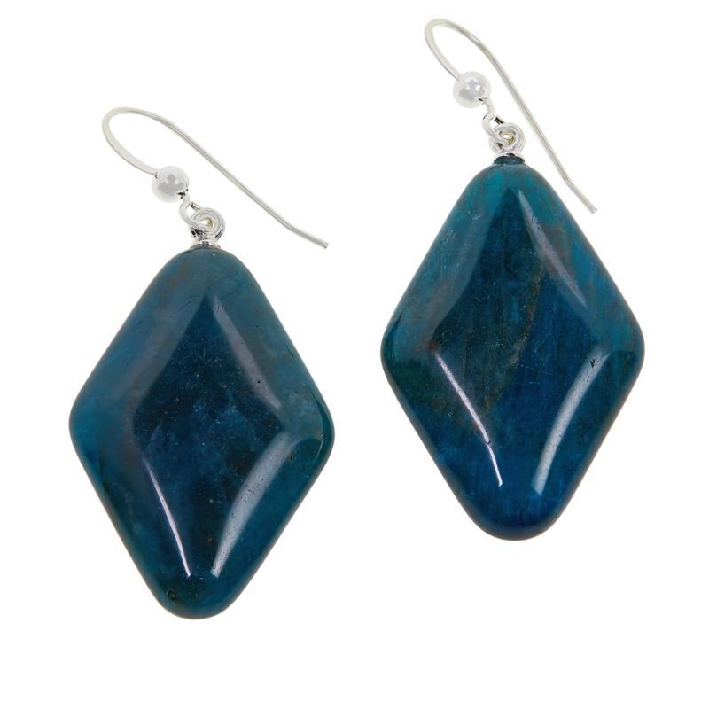 Jay King Sterling Silver Diamond-Shaped Blue Apatite Drop Earrings