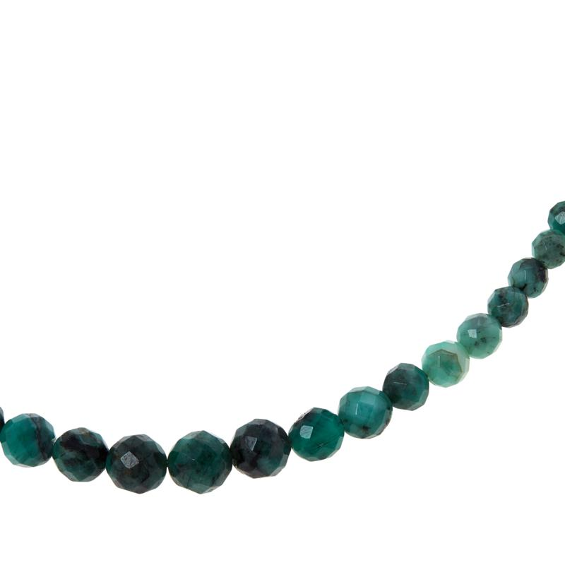 Jay King Sterling Silver Emerald Bead Necklace