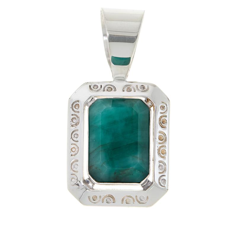 Jay King Sterling Silver Emerald Cushion Pendant