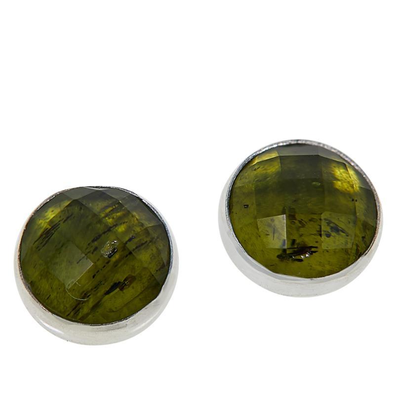 Jay King Sterling Silver Faceted Green Peridot Stud Earrings