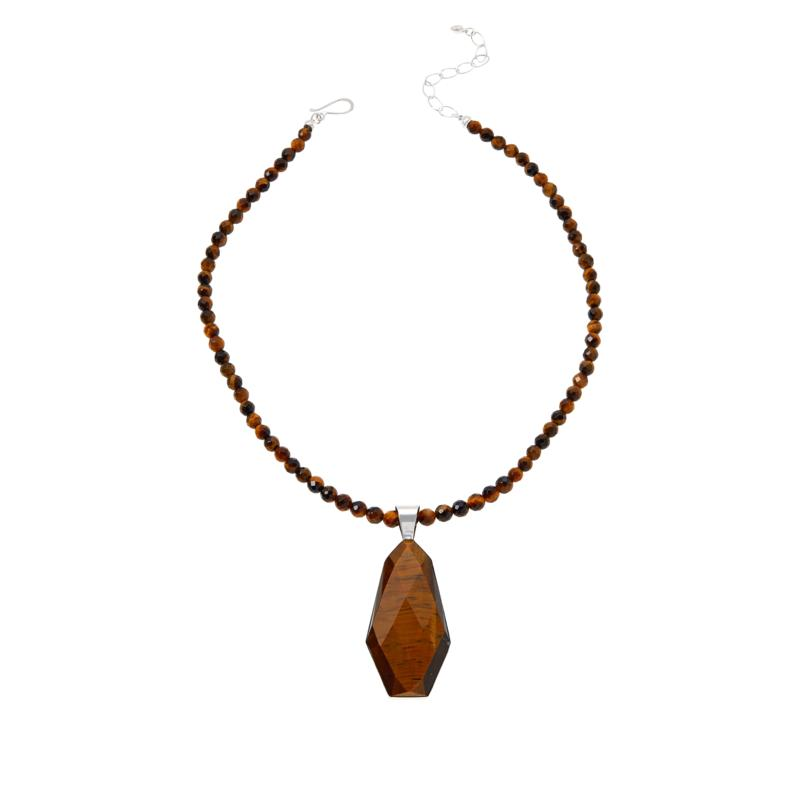 Jay King Sterling Silver Faceted Tiger's Eye Pendant with Necklace