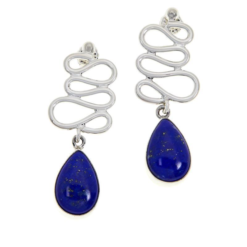 Jay King Sterling Silver Figure 8-Design Lapis Drop Earrings