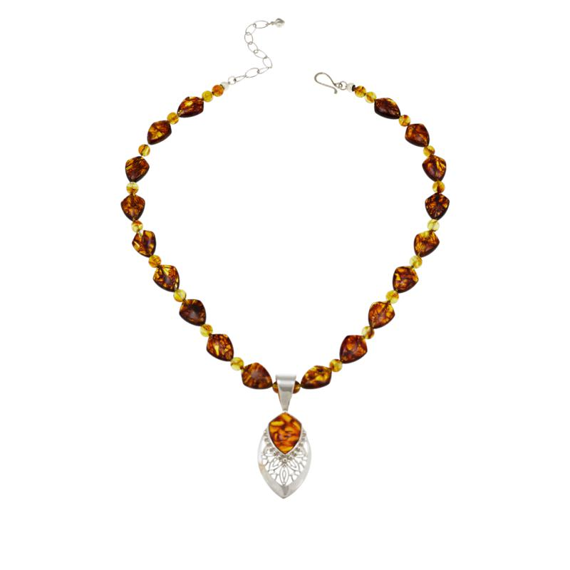 Jay King Sterling Silver Freeform Amber Pendant with Bead Necklace