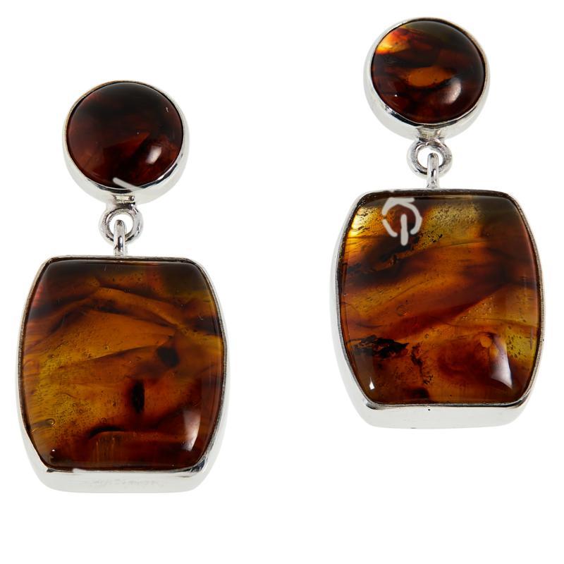 Jay King Sterling Silver Golden Brown Amber Double Drop Earrings