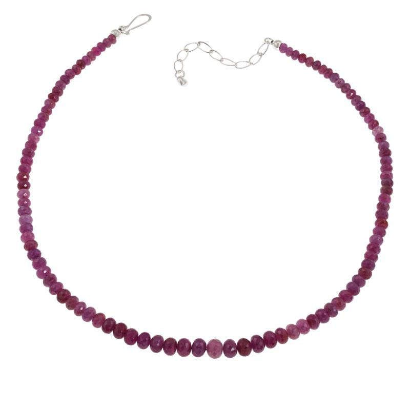 Jay King Sterling Silver Graduated Pink Sapphire Bead Necklace