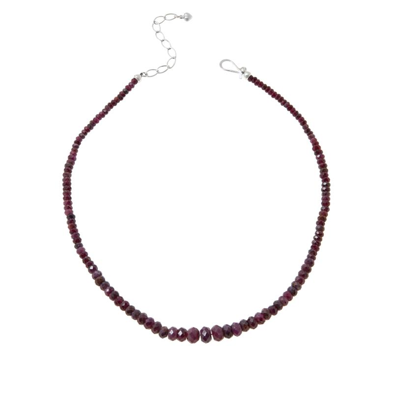 Jay King Sterling Silver Graduated Ruby Bead Necklace