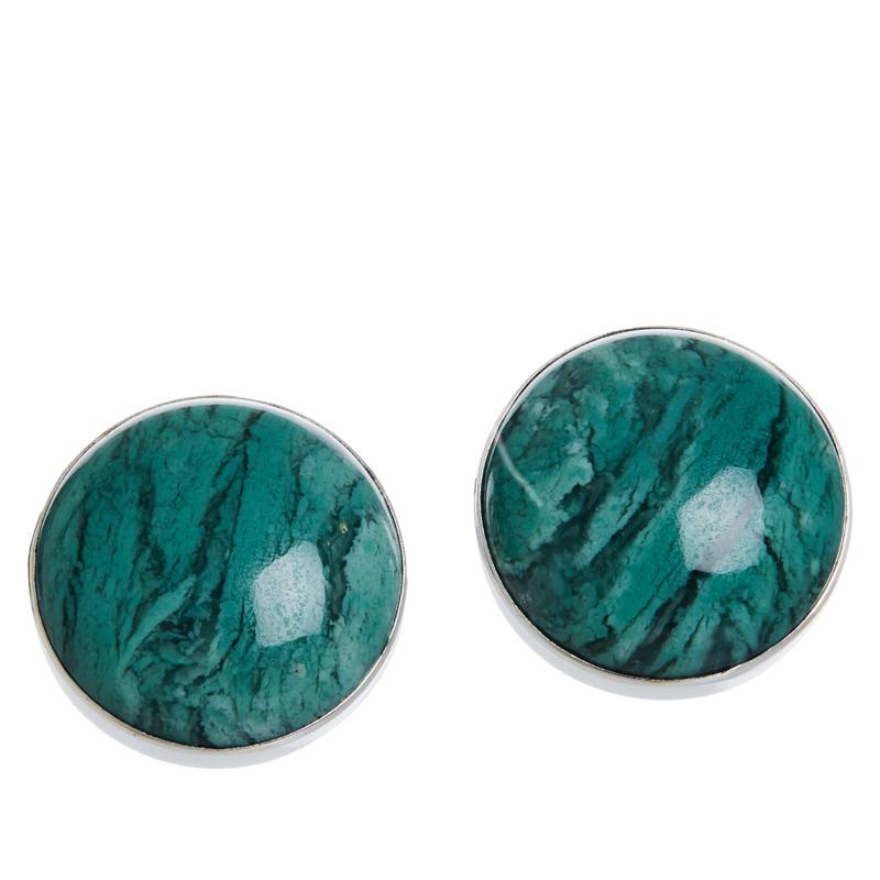 Jay King Sterling Silver Green Agate Stud Earrings